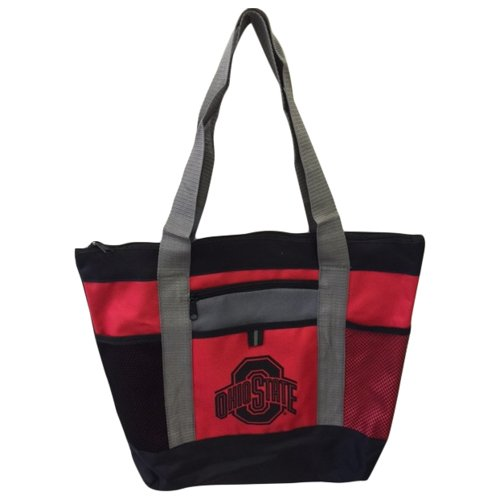 Victory Postcards NCAA Ohio State Buckeyes Tri-Color Tote Bag, Scarlet, 16