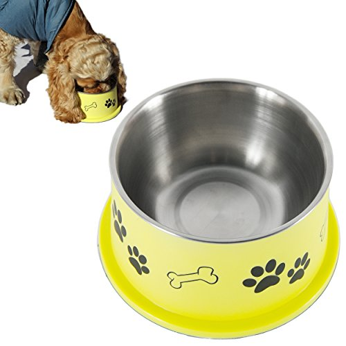PETish Spaniel Bowl for Long Ear Dog (Large ( 27oz - 7.5 x 6.0 x 3.7inch ), Banana Yellow)