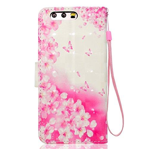 Funda Huawei P10,SainCat Funda de cuero sintético tipo billetera con correa de cordón de Suave PU Carcasa Con Tapa y Cartera,Soporte Plegable,Ranuras para Tarjetas y Billetera Funda de Flip Ranuras Ta Flores rosadas