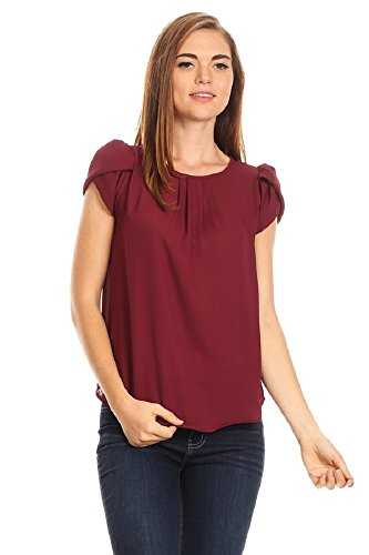 April Women's Basic Casual Simple Short Sleeve Blouse TOP (Large, Wine) ()