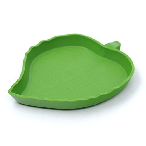 - ThinkPet Plastic Reptile Food and Water Bowl Terrarium Dish Aquarium Ornament Leaf S