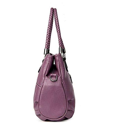 Weatly Bolsa Purple Las Mujeres Capacidad Madre Gran De Mensajero Portátil Bolso Cuero Del Suave Mediana Hombro Señoras Edad La 0Hr0U8