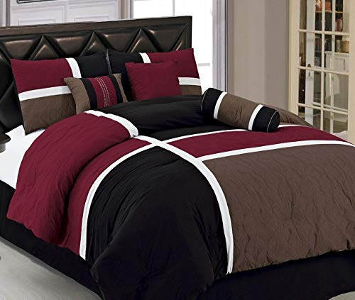 JBFF (7-Piece Luxury Quilted Patchwork Comforter Set(Queen, Burgundy)