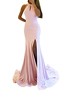 9165613aecd3 Zhongde Women's Sexy Mermaid Prom Dress Long Side Split Halter ...