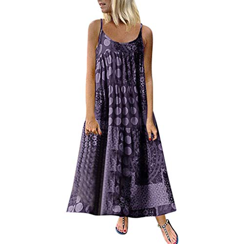 iPOGP Dress Women Summer Sleeveless Strappy Loose Comfortable Bohe Maxi Print Long Dress Plus Size Fashion 2019(Purple,XXXL)