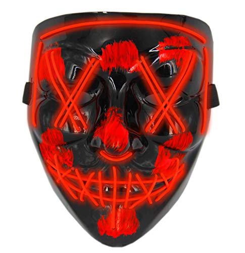 The Purge Halloween (Halloween Masks for AdultsLed Purge Mask Light Up MaskHalloween Mask Led Mask Scary Halloween Mask for)