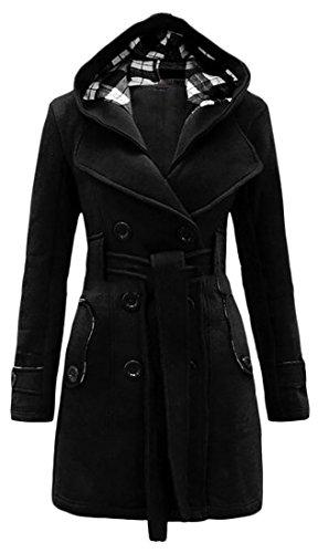 Nanquan-women clothes NQ Womens Winter Slim Belt Hooded Peacoat Warm Fleece Trench Coat Black Medium