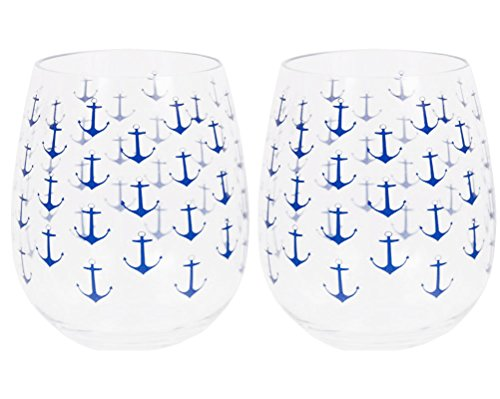 Set of 2 Boat Anchor Shatter-Resistant Stemless Wine Glasses 18 oz. Clear -