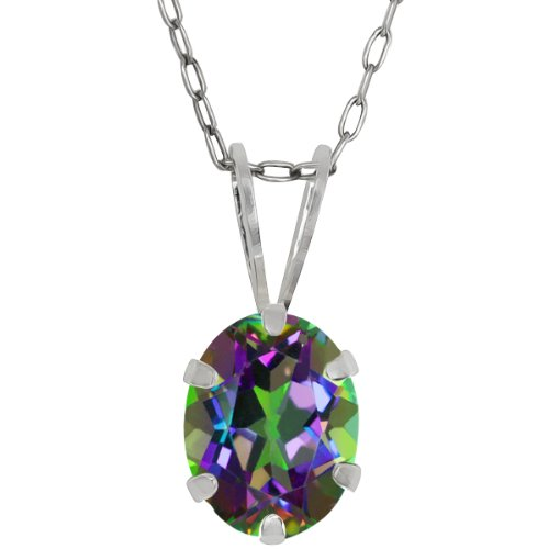 Gem Stone King Green Mystic Topaz 925 Sterling Silver Pendant Necklace 2.30 Ct Oval Shape With 18 Inch Silver ()