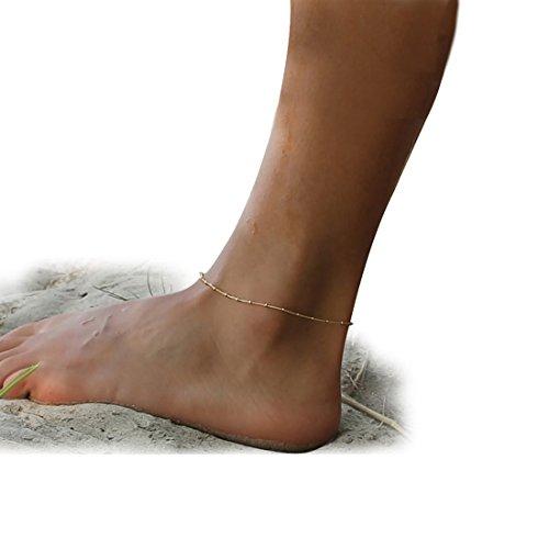 Fettero Anklet Women Handmade Dainty 14K Gold Fill Boho Beach Foot Chain Adjustable Beads