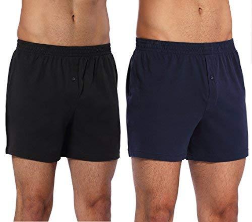 CYZ Mens 2-Pack 100% Cotton Knit Boxer Shorts/Lounge Shorts-BlackNavy-M