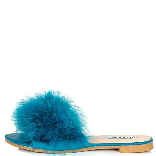 Cape Robbin Sandales-1 Femmes Flip Flop Fourrure Glisser Glissement Sur Les Appartements Sandales Chaussures Pantoufles Mule Paon