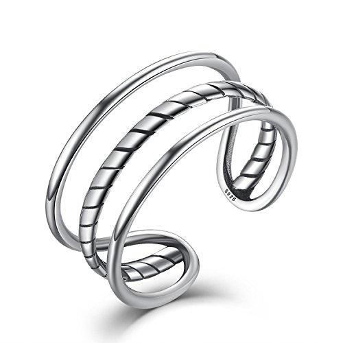 Women Men Sterling Silver Open Adjustable Ring,Fashion jewelry Simple Triple Cuff Band