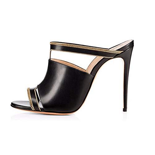 rouge talons 40 Noir Sandales Zl Femmes Muller Open Chaussures hauts Femmes Pantoufles Toe à xBY7PqS