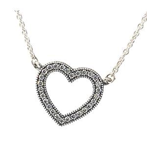Loving Hearts of PANDORA Pendant Necklace, Clear CZ 590534CZ-45 Adjustable Lengths