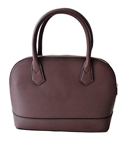 Faux Leather Satchel Handbag - Satchel Handbag | Top Handle | Zipper Closure (Chocolate)