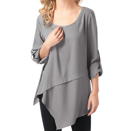 Sleeve Scoop Necklace - Oksale Women Casual Asymmetric Hem Scoop Neck Grey Top Blouse (Gray, L)