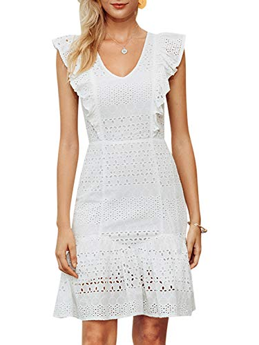 (Fashiomo Women's Hollow Out Cotton Embroidered Mini Dress V Neck Ruffle A Line Dress White 1,M)