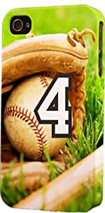 Baseball Sports Fan Player Number 4 Plastic Snap On Flexible Decorative Apple iPhone 4/4s Case