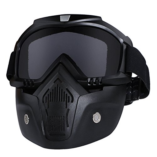 Motorcycle Helmet Riding Goggles Glasses With Removable Face Mask,Detachable Fog-proof Warm Goggles Mouth Filter Adjustable Non-slip Strap Vintage Bullet Fight Motocross (black)]()