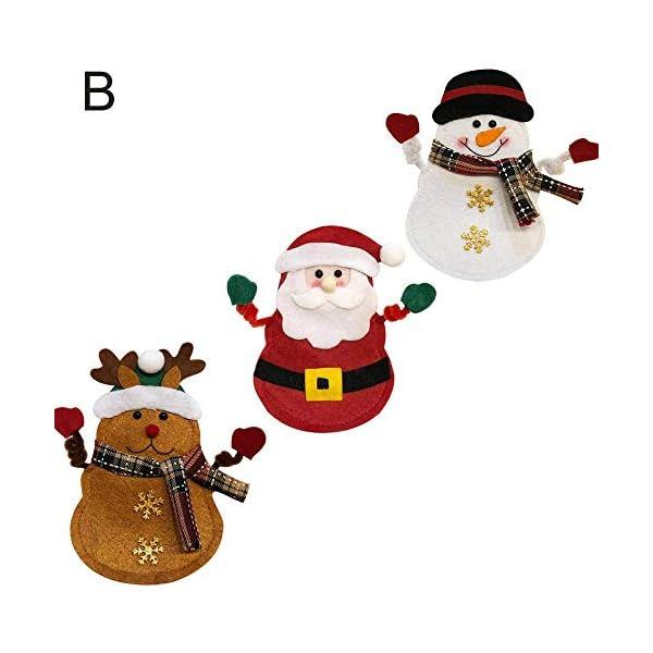 Hopeas 6pcs Portaposate Natalizie,Decorazione per Tavolo di Natale Babbo Pupazzo di Neve alci Natale Tasche Posate 4 spesavip