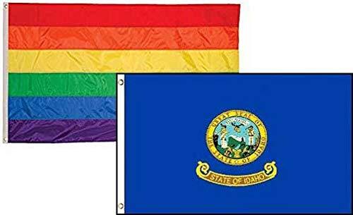 Ant Enterprises 2 Foot x 3 Foot Gay Pride Rainbow & State Idaho 2 Pack Flag Wholesale Combo]()