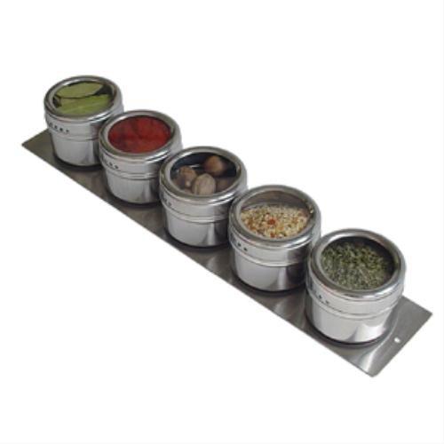 Lipper International SOHO 5-Piece Strip Board Shaker Set, Stainless Steel 6505