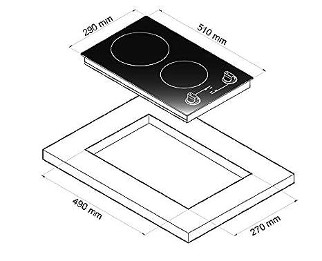 Mezieres – Vitrocerámica de dos fuegos y 3000 W – Interruptor y luz