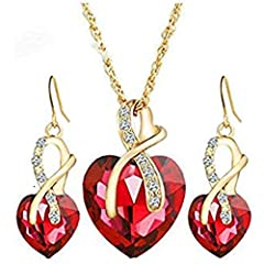 Item specifics Item Type:Jewelry SetsFine or Fashion:FashionIncluded Additional Item Description:Necklace Drop Earrings SetStyle:TrendyGender:Women,UnisexMaterial:CrystalOccasion:PartyMetals Type:Gold PlatedShape\pattern:HeartJewelry Sets Typ...