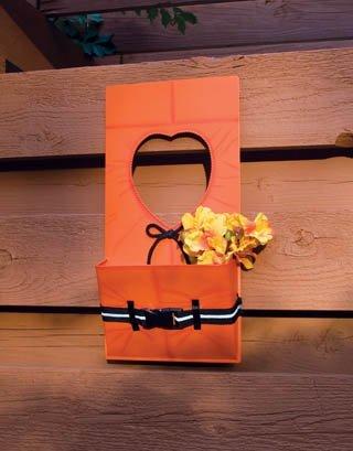 Orange Life Jacket wall Pocket Floral Holder