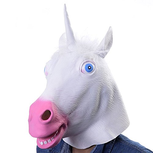 [Unicorn Mask White Latex Fun Party Rubber Animal Costume Theater Prop Novelty Cover] (Party City Animal Costumes)