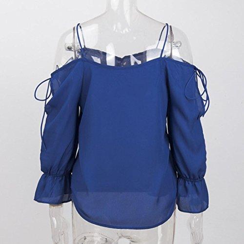 Camicetta Sling Fashion Blu Fami Lunghe A Top womens Maniche Bandage qXFwCxwvnR
