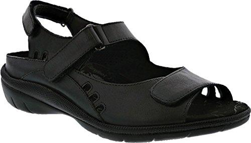 Trok Tij Dames Zwart Leer Sandaal