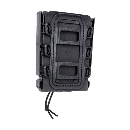 (Rifle Soft Shell Scorpion Mag Carrier (BLACK) with Molle Mount Attachment 100% MADE IN USA)