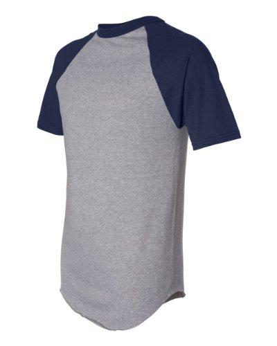 Augusta Sportswear 50/50 Short-Sleeve Raglan Baseball T-Shirt - 423 - Athletic Heather / Navy - XX-Large Augusta Baseball T-shirt