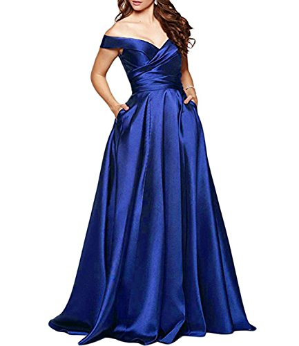 84012a03bbd Alanre Women's Off Shoulder Long Satin Prom Dress Formal Cap Sleeve Evening  Gown With Pocket Royal Blue 26