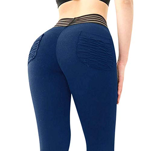 MOSHENGQI Women's High Waist Yoga Pants Tummy Control Workout Ruched Butt Lifting Leggings(XL, ()