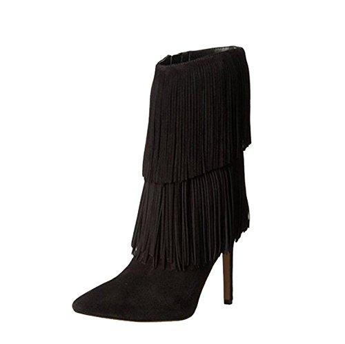 ante cuero delgado mujer black puntiagudo borla altos moda tobillo tacones botas corto zapatos qa4IwYxUX