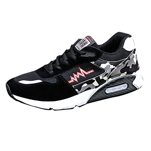 - ANJUNIE Mens Mesh Beathing Running Sport Athletic Casual Breathable Mesh Sneakers (Black,43)