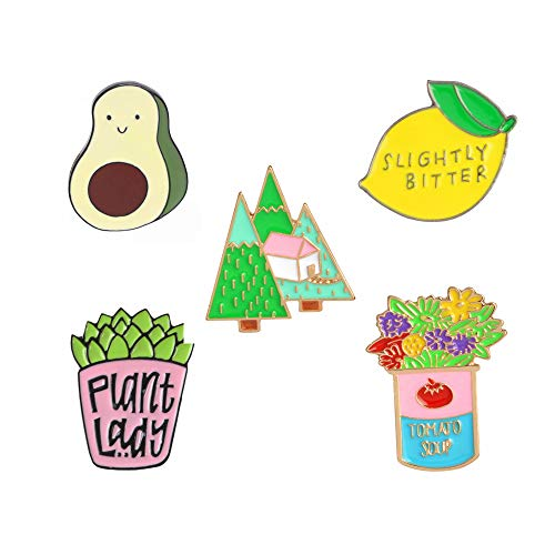- Cute Enamel Lapel Pins Sets Cartoon Animal Plant Fruits Foods Brooches Pin Badges for Clothing Bags Backpacks Jackets Hat DIY (Flower tree plant avocado lemon Set of 5)