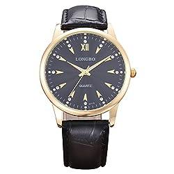 LONGBO Luxury Men's Black Croco Leather Band Analog Quartz Business Watch Gold Case Couple Dress Watch Luminous Rhinestone Crystal Accented Black Dial Wristwatch For Man