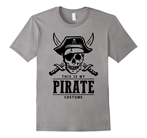 Mens This is my Pirate Costume Easy Halloween T-Shirt v3 Small Slate