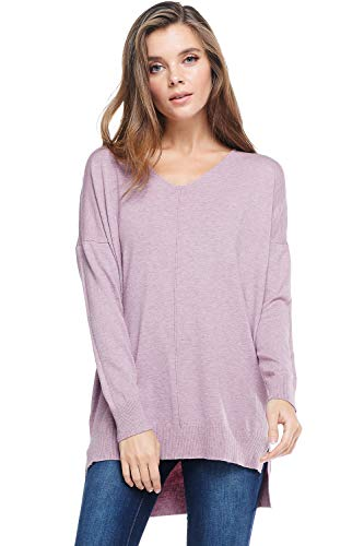 A+D Womens Oversized V-Neck Pullover Sweater Top W/Slight Hi-Low (Heather Lilac, Small/Medium)