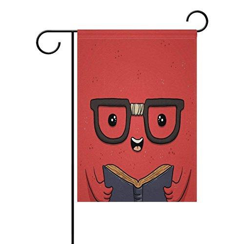 QQshiqI Red Funny Book Day Garden Flag Banner