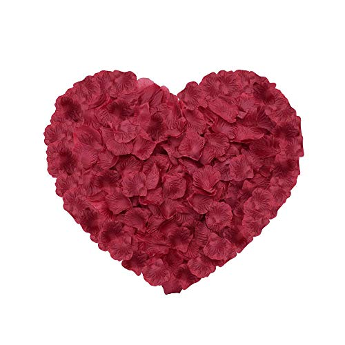 Neo LOONS 2000 Pcs Artificial Silk Rose Petals Decoration Wedding Party Color Burgundy