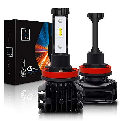 SiriusLED C5 Fan-less Super Bright CSP Chip LED Headlight Head lamp Bulbs Size H11 H8 H9 White 6000K Conversion Kit