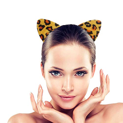 (Halloween Cute Cat Ears Headband Kids Cosplay Costume Ears Bow Tie Tail set accessories for parties Bar events (Pack of 3) yellow leopard)
