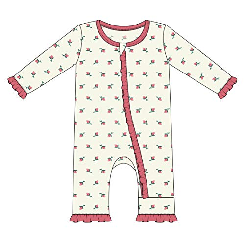 Pink Rose Bud Print - Kickee Pants Little Girls Print Layette Classic Ruffle Coverall with Zipper - Natural Rose Bud, 0-3 Months