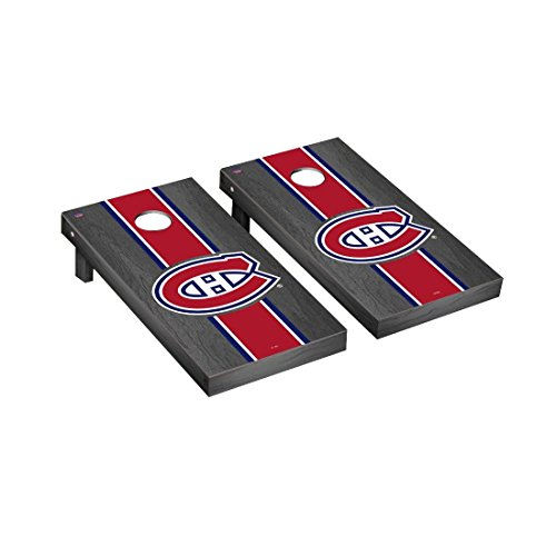 Victory Tailgate Montreal Canadiens NHL Regulation Cornhole Game Set Onyx Stripe Version ()