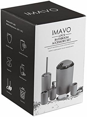 IMAVO Bathroom Accessories Set,6 Pcs Plastic Gift Set Toothbrush Holder,Toothbrush Cup,Soap Dispenser,Soap Dish,Toilet Brush Holder,Trash Can,Tumbler Straw Set Bathroom (Grey) 41j 2BNBy43UL